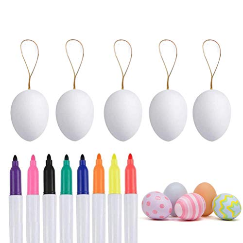 Yooyg 50 pcs Plastic White Easter Eggs, Decorative Eggs with Hanging Rope, Easter DIY Painting Eggs with 8 Color Pens,for Home Easter Party Supplies