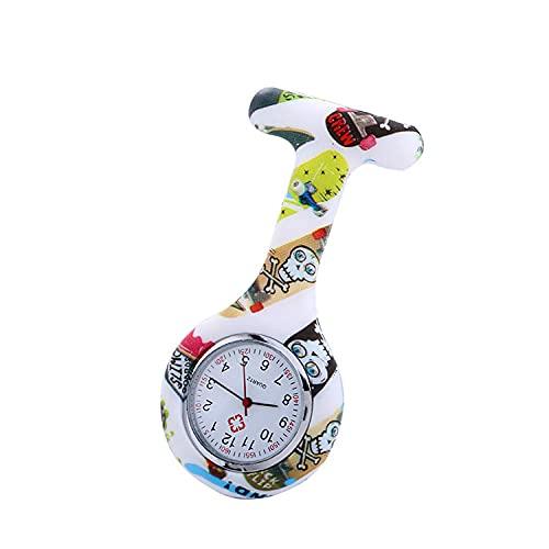 LLRR Broche Movimiento Cuarzo Clip Reloj,Nuevo Reloj de Silicona Respetuoso con el Medio Ambiente, Regalos médicos del Reloj de la Enfermera de la impresión-I,médico Reloj de Bolsillo