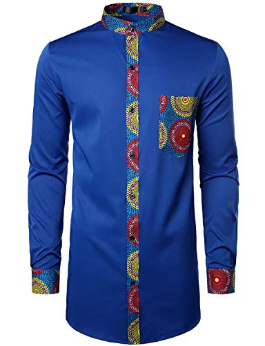 LucMatton Men's Stylish African Pattern Patchwork Design Long Sleeve Nehru Collar Elongated Dashiki Shirt Royal Blue Medium