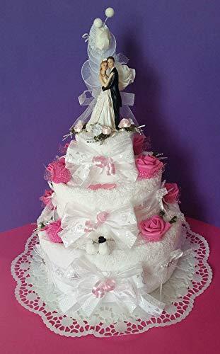 ** Handtuchtorte *edle Hochzeitstorte * Geldgeschenk * 3 stöckig * rosa-weiß **