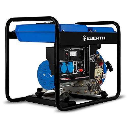 EBERTH 2000 Watt Diesel Stromerzeuger (3,8 PS 4-Takt Dieselmotor, Ölmangelsicherung, Automatischer Voltregler AVR, 1-Phase, 2x 230V, 1x 12V)