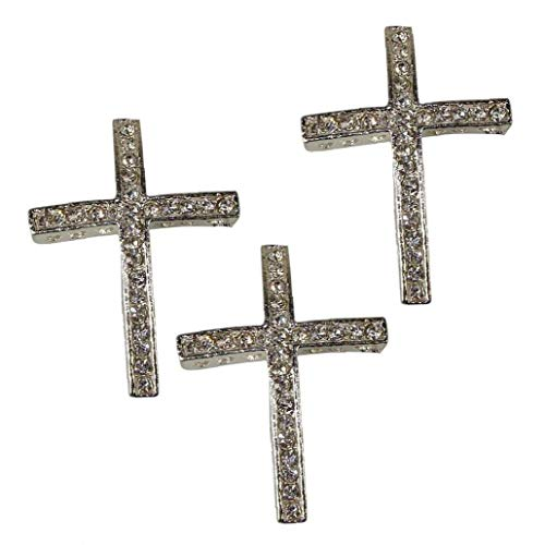 3pcs Rhinestone Cross Charms and Necklaces Pendant Jewelry Making Findings