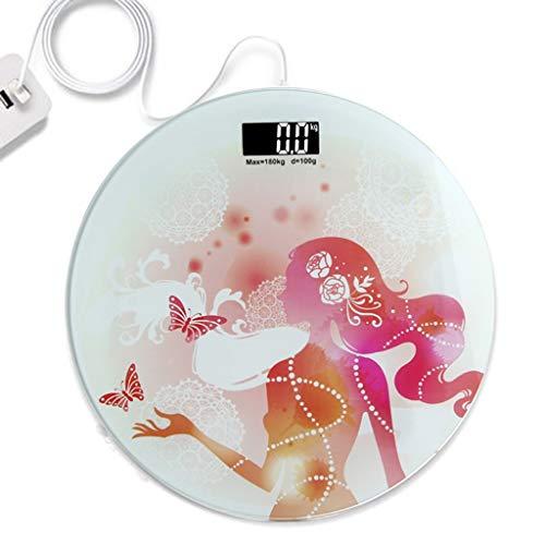 Digitale personenweegschaal USB-oplaad-elektronische weegschaal menselijk meetlint precies naar huis rond glas draagbare