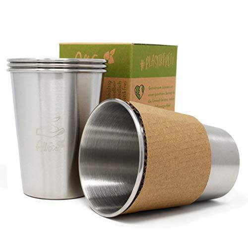 AllEco Edelstahl Becher 4er Set Trinkbecher Kinder Camping Outdoor 350ml/12oz - nachhaltig, wiederverwendbar, plastikfrei & Zero Waste