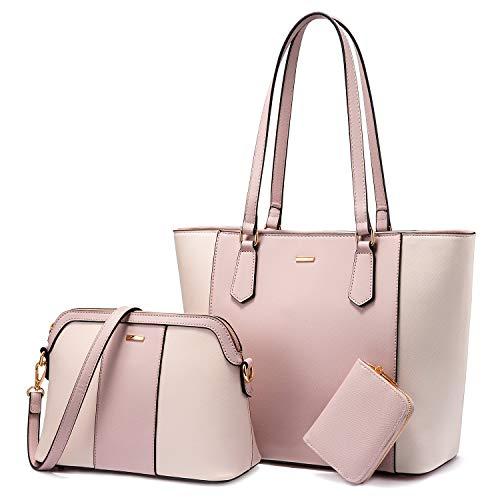 LOVEVOOK Handtasche Damen Gross Handtaschen Set Taschen groß Handtaschen für Frauen Damen-henkeltaschen Shopper Schultertasche, Beige Rosa