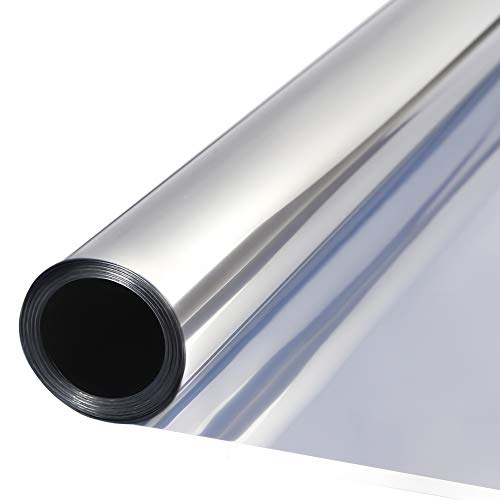 TTMOW Vinilo Pet Película Adhesiva Lámina de Espejo para Ventanas Cristal Unidireccional Protector de Privacidad Anti 99% UV y Anti 85% IR para Hogar y Oficina (90 * 200cm)