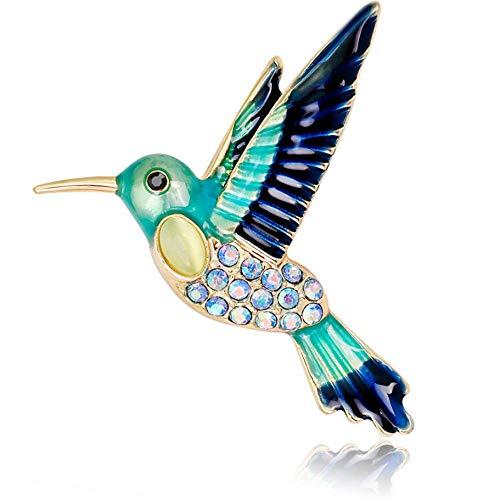 Spilla Donna Gioiello Regalo Spilla A Forma di Uccello Blue Kingfisher, Smalto Smaltato, con Strass