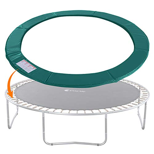 Exacme Trampoline Replacement Safety Pad Round Spring Cover, No Hole for Pole (Green, 14 Foot)