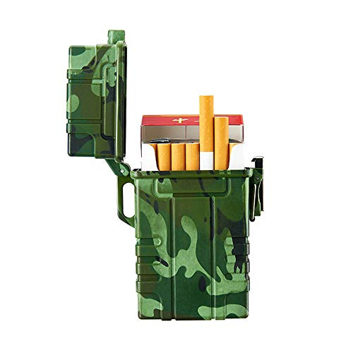 Zigarettenetui mit USB wiederaufladbarem elektrischem Feuerzeug für das ganze Paket Zigaretten, 20 Stück, wasserdichtes Zigarettenetui für Outdoor Camping Wandern (Camouflage)