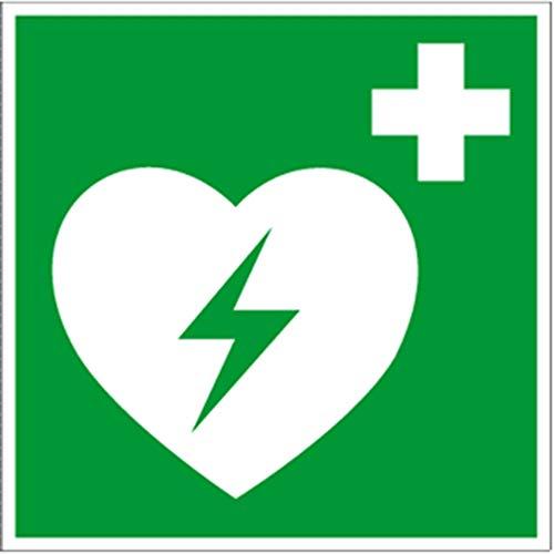 Hinweisschild auf einen Defibrillator (AED Automatisierter externer Defibrillator) gem. ASR A1.3 Folie 20x20cm (Rettungsschild) praxisbewährt, wetterfest