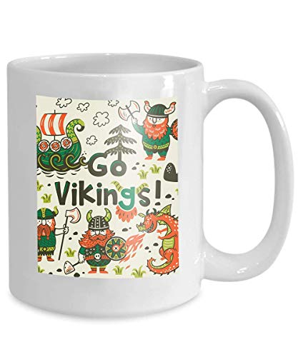 Taza de café - Tazas de cerámica - Idea de regalos novedosos Mujeres, para mamá, Wife, Tea Cup White go Vikings Tarjeta de motivación Personajes de dibujos animados lindos Vikings Dragon Funny Print T