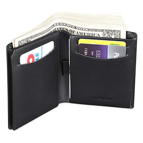 Bifold Trifold Leather RFID Mens Wallet with ID Window & Coin Pocket (Black)