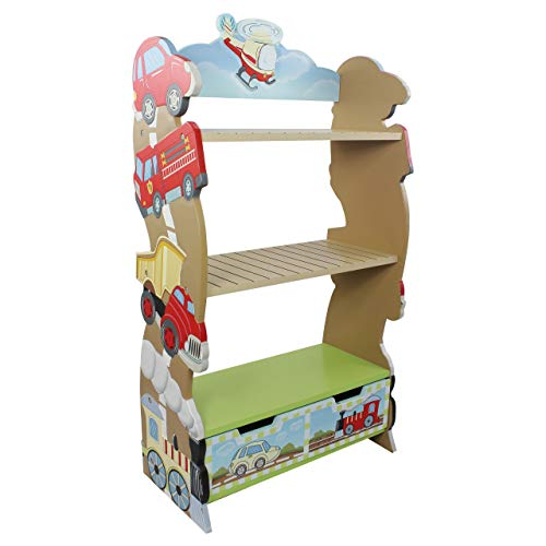 Wooden Kids Bookshelf with Toy Box Space