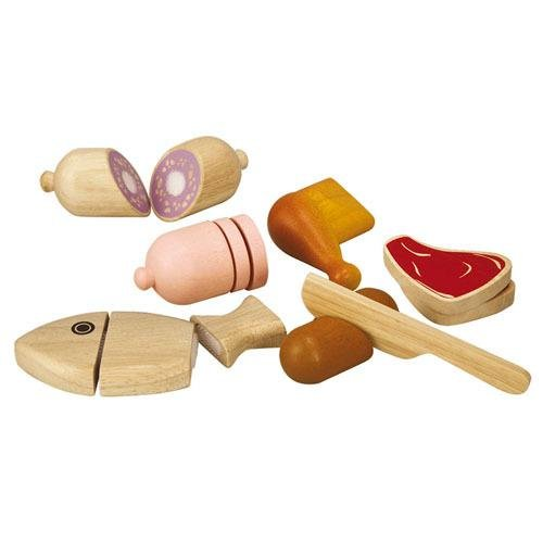 PlanToys Wooden Meat Pretend Food Set (3457) | Sustainably Made from Rubberwood and Non-Toxic Paints and Dyes