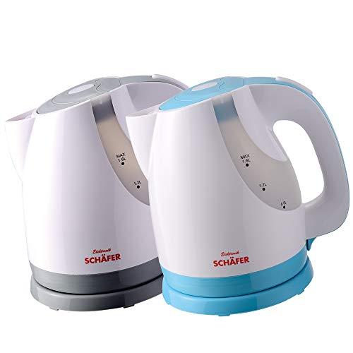 Schäfer 1,6 Liter Wasserkocher Teekocher mit von außen ablesbarer Füllstandsanzeige (weiß-BLAU)
