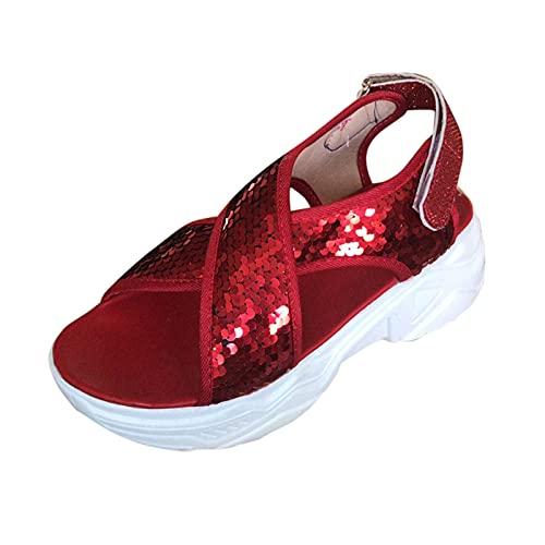 Damen Sandalen Glitter Pailletten Plateausandalen Plateauschuhe Flache Platform Slingback Peep Toe Sommer Sandals Freizeitschuhe(1-Rot/Red,37) 866