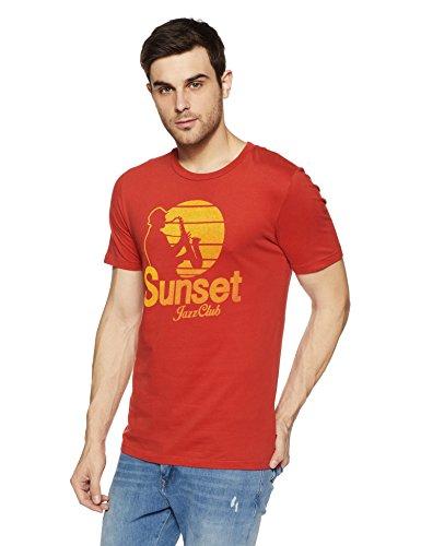 Jack & Jones Men's T-Shirt (12120198-1861938002_Pompeian Red_Small)b