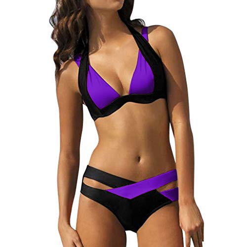 Sexy Kreuz Einfarbig Split Badeanzug,Resplend Damen Zwei Stücke Häkeln Spitze Hohe Taille V-Ausschnitt Bikini Einstellen Badeanzug