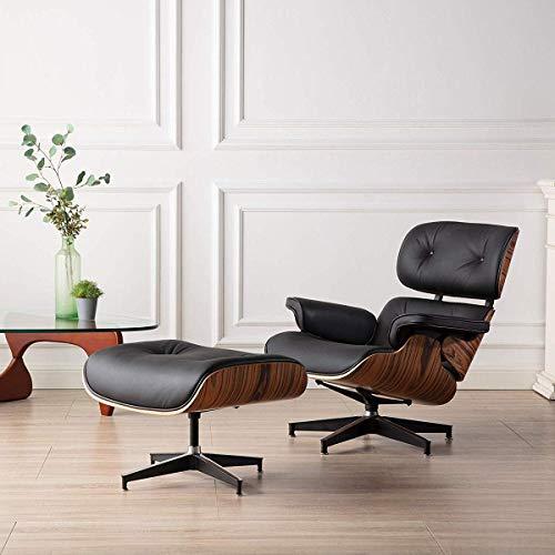 Sedia da salotto e ottomana di metà secolo, design classico, in pelle di grano superiore in legno di palisandro resistente, supporto base per soggiorno, studio, salotto, ufficio