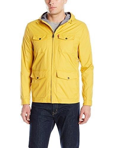 Levi's Men's Lightweight Hooded Rain Jacket, Navy, Medium