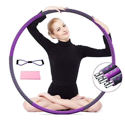 Fitness Hula Hoop Reifen Erwachsene, Rostfreier Stahl Reifen 1,2kg, 6 Segmente Abnehmbarer Hoop,Gewichten Einstellbar von 1,5kg bis 3kg für Profis, Sport mit Fitnessbänder und Multifunktions-Spannseil