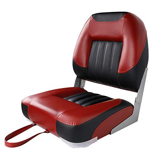 XGEAR Low Back Boat Seat, Fold-Down Fishing Boat Seat (Black/Red)