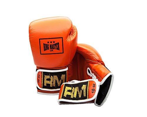 RingMaster Guantes de boxeo profesionales de cuero genuino del Reino Unido con...