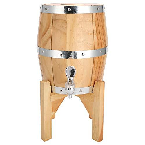 Roestvrijstalen wijnvat, hout wijnvat Home wijnvat wijn biercontainer Roestvrij staal wijnemmer drank bier whisky vat vat(Wood Color 3L)