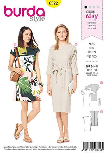 Burda Schnittmuster 6322, Kleid [Damen, Gr. 34-44] zum selber nähen, ideal für Anfänger [L1]