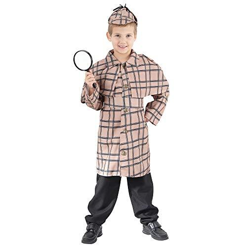 Bristol Novelty Kinder Welt Wochentag Verkleidung Kostümparty Filmcharakter Sherlock Holmes Junge Kostüm - Creme, L