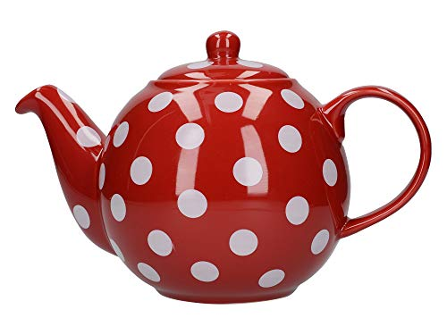 London Pottery Globe Teekanne f?r 6 Tassen rot mit wei?en Punkten