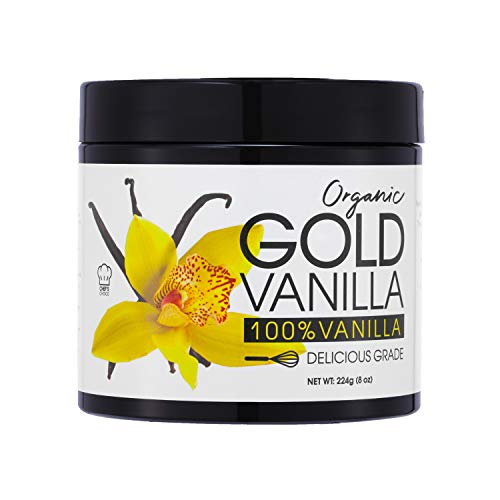 Gold Organic Vanilla Powder (8 oz) Smoothie Grade - Perfect Vanilla Extract Substitute For Baking All Natural Great For Coffee And Drinks