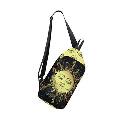 EZIOLY Boho Golden Sun Stars Astrología Magic Symbol Mochila Bandolera, Bolsa Cruzada de Viaje, Senderismo, para Hombres y Mujeres