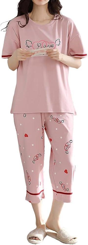 KINYBABY Girls Cotton Pajama Sets Summer Short Sleeve Sleepshirt with Shorts Nightwear Pyjamas Loungewear (N6188,16-18 Years/Tag XXL)