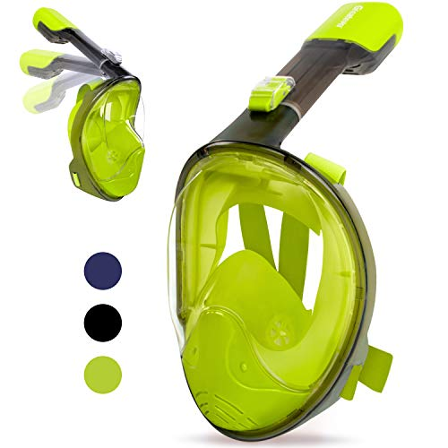 Greatever Snorkel Mask Foldable Panoramic View Full Face Snorkeling Mask with Detachable Camera Mount, Dry Top Set Anti-Fog&Anti-Leak
