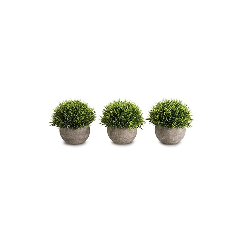silk flower arrangements opps mini artificial plants plastic fake green grass topiary shrubs with gray pot for home décor – set of 3