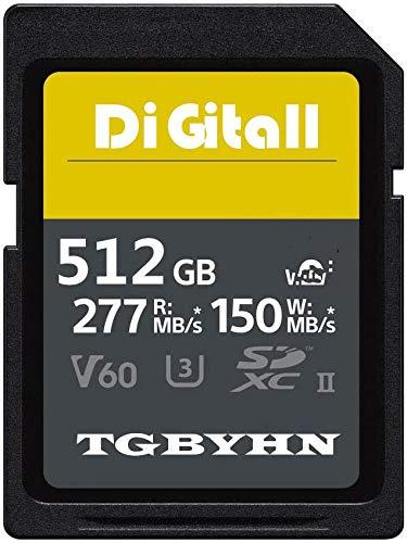 Tarjetas de memoria SD de 512 GB UHS-II Class 10 Memory SD, V60, C10, U3, External Data Storage, compatible con Kinds of Cameras (512 GB)
