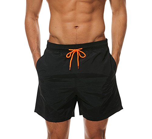 Cindeyar Herren Badeshorts Freizeit Kurze Badehose Schnell Trocknend Strandshorts Sommer Schwimmhose Beachshorts Bermuda Shorts (Z-Schwarz, XL)