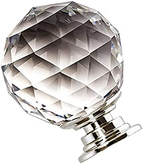 30mm (1.2in) Crystal Knobs, Round Diamond Shape Crystal Knobs for Drawer Dresser, Metal Base, Clear (6 Pieces with 22mm,45mm Screws)