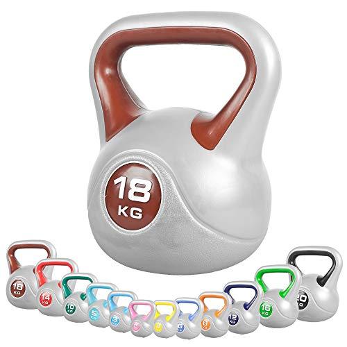 GORILLA SPORTS® Kettlebell Stylish 2-20 kg Kunststoff – Fitness-Kugelhantel 18 kg