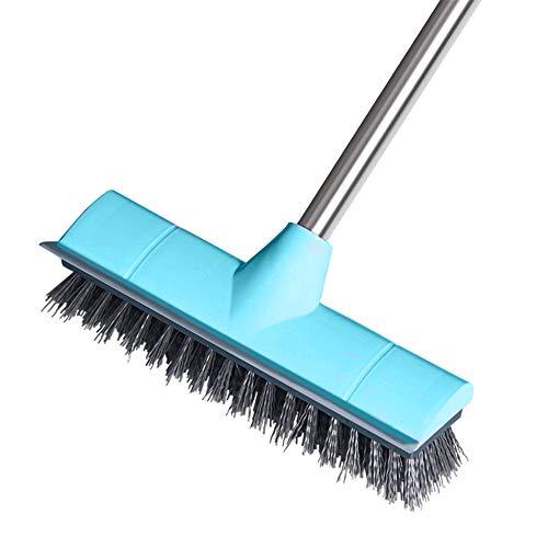 Boden-Scheuerbürste mit Abzieher steifen Borsten, für drinnen und draußen, 108 cm, Edelstahl, langer Griff, für die Reinigung von Küche, Badezimmer, Badewanne, Fliesen, Terrasse, Garage, Fugenmörtel
