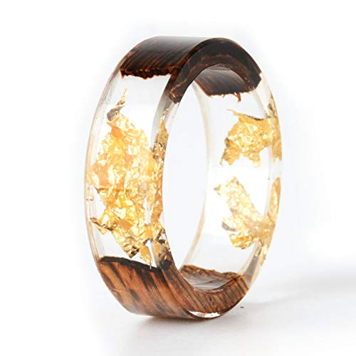 NDJEWELRY Unique Handmade Wood Ring Resin Ring with Gold Foil insided Transparent Crystal Ring Best Gift for Her Size 7.5