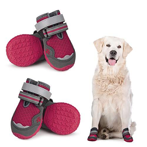 Dociote Zapatos para Perros, 4Pcs Perro Botas con Suela Antideslizante, Correas Resistente, Cierre de Velcro, Impermeables Protectores de Patas para Perros Medianos y Grandes Verano Rojo 4#
