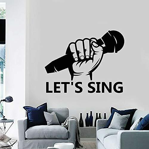 Vamos a cantar decal micrófono karaoke música arte decoración vinilo adhesivo