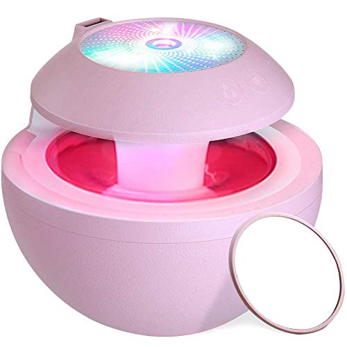 Ctzrzyt Portable Usb Humidifier, Fan,Led Projection,Abs Mirror,4 In 1 Personal Room Humidifiers,500Ml Cool Mist Humidifiers With Fan For Baby Kids,Office,Bedroom(Pink)