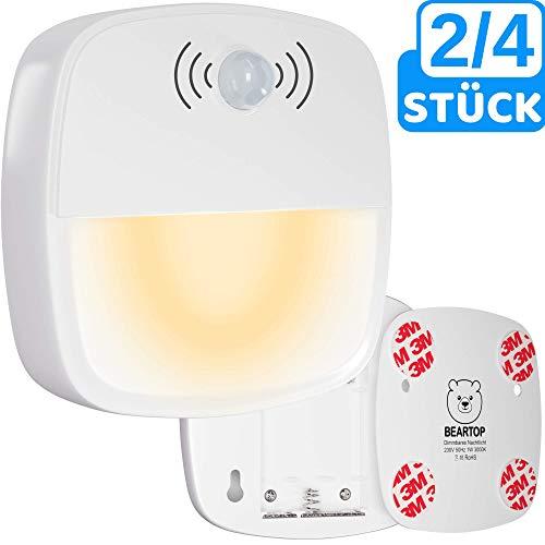 Premium Nachtlicht von BEARTOP | Dämmerungs- und Bewegungssensor | warm weiß | Auto ON/OFF | Orientierungslicht, Schrankbeleuchtung, Schlummerlicht | energieeffizient (<1 Watt) | 100% ERSATZGARANTIE