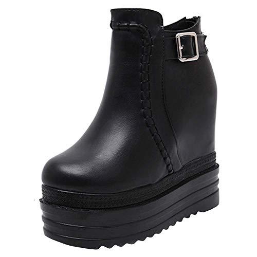 Schoenen-YRQ Women's Fashion Boots 2019 val kunstmatige PU Booties Enkellaarzen Dikke Bodem Martin laarzen 35 Zwart