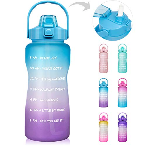 64 OZ/Half Gallon Motivational Water Bottle with Time Marker & Straw - BPA Free Leakproof Tritan Frosted Plastic Big 2L...