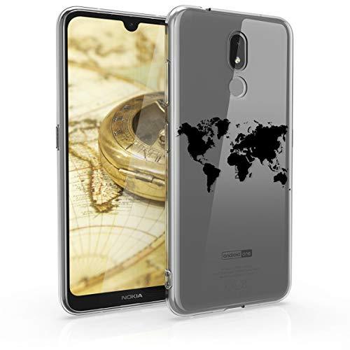 kwmobile Hülle kompatibel mit Nokia 3.2 (2019) - Hülle Handy - Handyhülle - Travel Umriss Schwarz Transparent