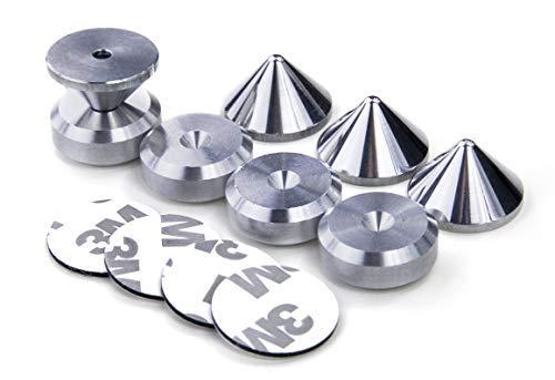 Aluminium 4x Lautsprecher Spikes/Boxen Spikes + 4x 20mm Unterlagen Hifi + Montage-Pad selbstklebend